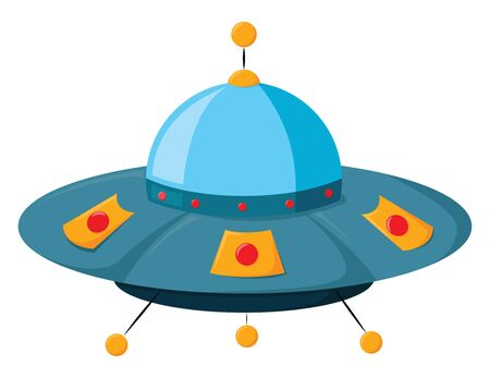 A small cute ufo in blue colour with red and yellow buttons on it , vector, color drawing or illustration. 向量圖像