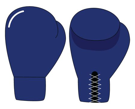 A pair of blue boxing gloves for both the hands , vector, color drawing or illustration.