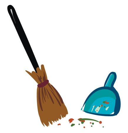 Lot of dust to be cleaned with a long broom and a blue dustpan , vector, color drawing or illustration. Illusztráció
