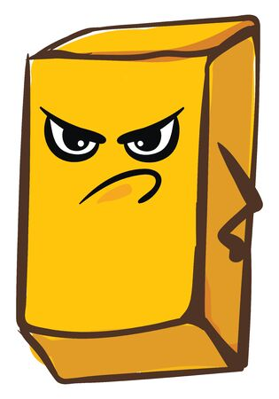 A big yellow bar of angry gold which is very expensive , vector, color drawing or illustration. Illusztráció