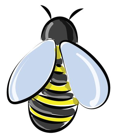 A honey bee in yellow and black colour with blue wings , vector, color drawing or illustration.
