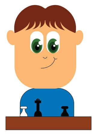A small boy with big green eyes sitting with a chess board , vector, color drawing or illustration. Çizim