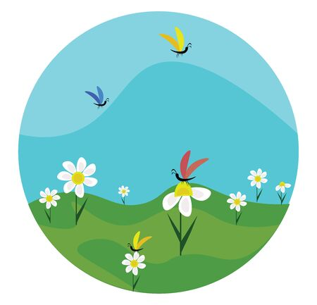 A beautiful green field with lot of chamomile flowers and butterflies on it , vector, color drawing or illustration.