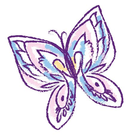 A very good A cute butterfly in violet cryon, vector, color drawing or illustration.