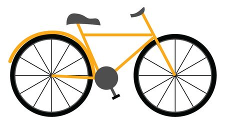 A new bicycle in yellow colour with two big wheels on it , vector, color drawing or illustration.