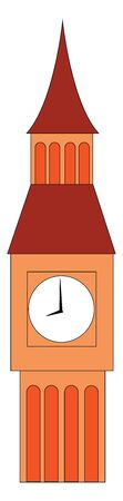 A tall big ben showing correct time at 8o clock , vector, color drawing or illustration.