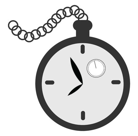 A small black clock with a chain and a small seconds clock inside it , vector, color drawing or illustration.