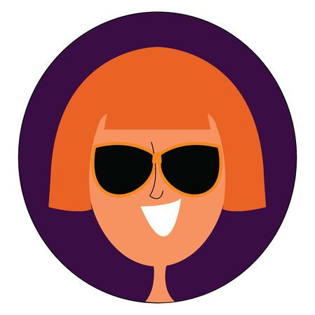 A girl with short blonde hair wearing glasses , vector, color drawing or illustration. Illusztráció