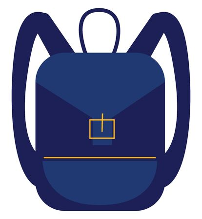 A small cute bag in navy blue colour with a buckle in front to open it , vector, color drawing or illustration.