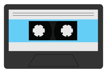 A grey cassette with blue stripes and black reel to record songs to it, vector, color drawing or illustration.