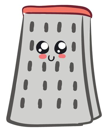 A cute grater in orange colour with small holes on it , vector, color drawing or illustration. 向量圖像