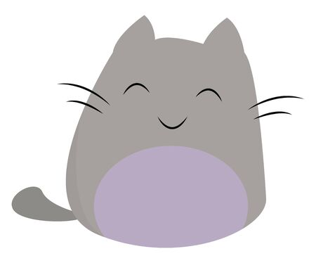 A crazy cat with two large eyes which seems to be very cute , vector, color drawing or illustration. 向量圖像