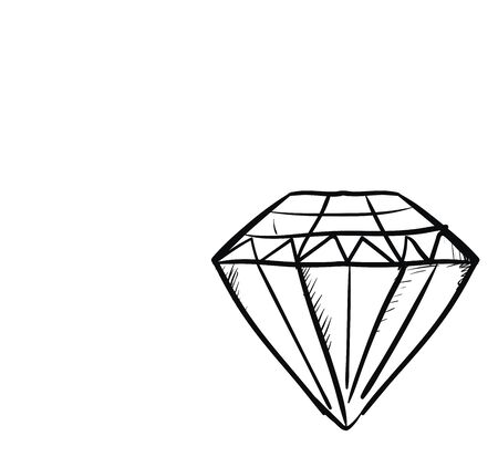 A sketch of a diamond in black pencil , vector, color drawing or illustration.