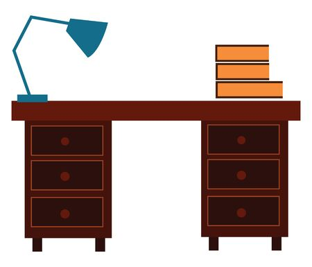 A desk with lamp and books on it with lot of comfortable draws , vector, color drawing or illustration.