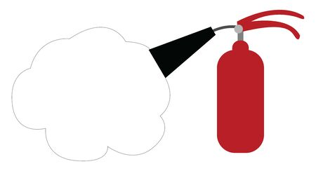 A working fire extinguisher in red colour which is spraying , vector, color drawing or illustration. Illustration