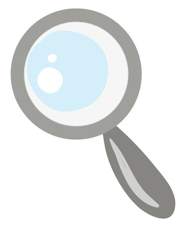 A cute small magnifying glass in grey colour , vector, color drawing or illustration. Illusztráció
