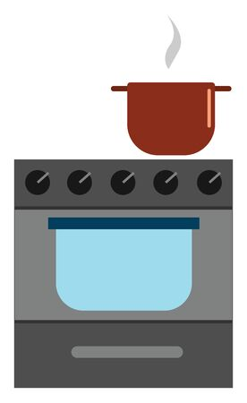 A gas stove with a vessel cooking on it , vector, color drawing or illustration.