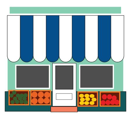 A fruit shop with lot of fresh fruits arranged in front , vector, color drawing or illustration. Illustration