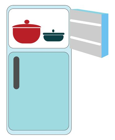 A big blue fridge with its upper door open containing two vessels , vector, color drawing or illustration. 일러스트