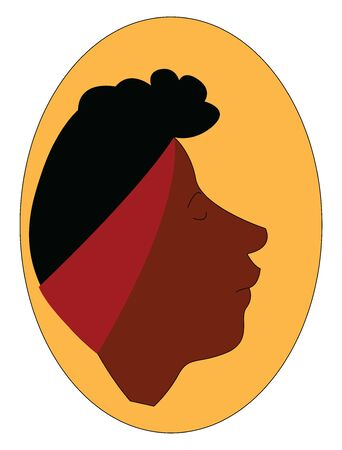 A character of a girl showing only the face who is wearing a hair band, vector, color drawing or illustration.
