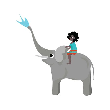 A cute small girl sitting on an elephant, which is playing with water , vector, color drawing or illustration.
