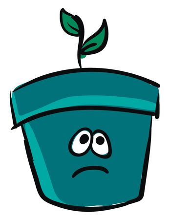 Emoji of a small plant with two oval-shaped green plants grown in a blue pot has a cute face with two eyes rolled up expresses sadness, vector, color drawing or illustration.