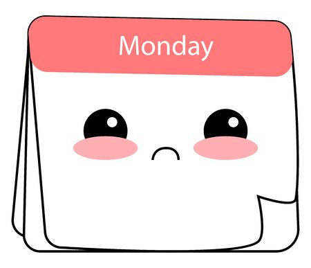 Emoji of the calendar displaying Monday has a cute face with two eyes rolled up expresses sadness set isolated on white background, vector, color drawing or illustration.