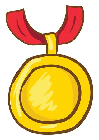 A gold medal which is plain and bright , vector, color drawing or illustration. Иллюстрация