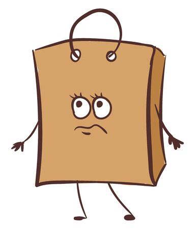 Emoji of a brown paper bag ideal for gift purposes or carrying light-weight clothes has a cute little face with eyes rolled up expresses sadness while standing, vector, color drawing or illustration.