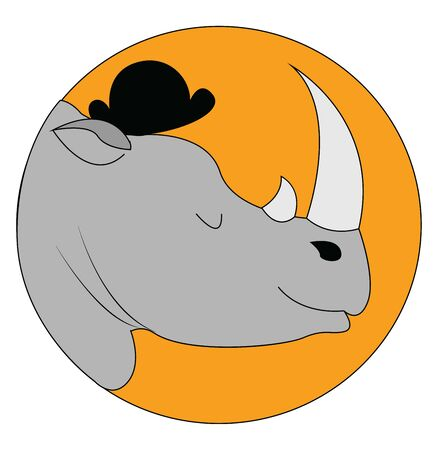 Portrait of two horned grey rhinoceros wearing a black summer cap and with eye closed over yellow background viewed from the side, vector, color drawing or illustration.