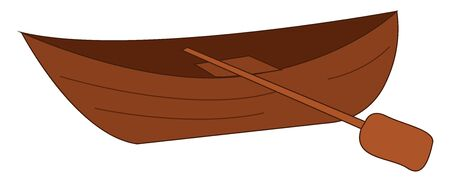 A brown boat with the row is ready to be picked by someone and sail across the river for a ride on pleasure over white background viewed from the side, vector, color drawing or illustration.