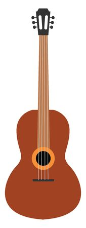 A big guitar in brown colour which is new and ready to play , vector, color drawing or illustration. Ilustração