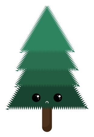 the green tree with a brown trunk has a cute little face with eyes rolled top-left expresses sadness set isolated on white background viewed from the front, vector, color drawing or illustration. Standard-Bild - 132672620