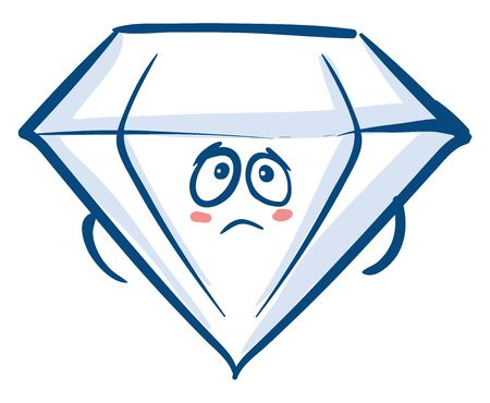 Emoji of the sparkling blue crystal diamond has a cute little face with hands to the sides of the body, and two eyes rolled up expresses sadness, vector, color drawing or illustration. Illustration