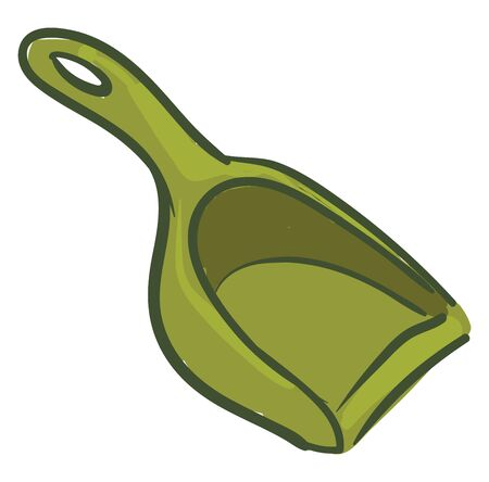 A dustpan in green colour with good quality , vector, color drawing or illustration.