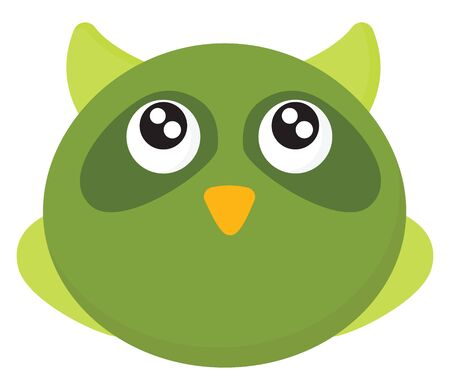 A small cute owl in green colour with large eyes , vector, color drawing or illustration. Ilustração
