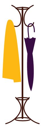 A dress hanger with yellow towel and a purple umberalla , vector, color drawing or illustration. Illustration