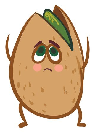 A pistachio seed with the oval-shaped brown shell split up has a cute face with two green eyes rolled up expresses sadness while standing and hands raised above, vector, color drawing or illustration. Illustration