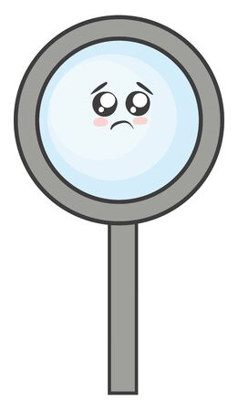 Emoji of the magnifying glass that magnifies an image set in a frame with a handle has a cute little face and with eyes rolled left bottom expresses sadness, vector, color drawing or illustration. Illustration