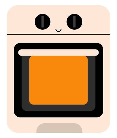 A small happy oven in box shape with a happy smiley , vector, color drawing or illustration.