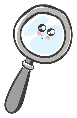 A happy cute magnifying glass which is in grey colour , vector, color drawing or illustration.