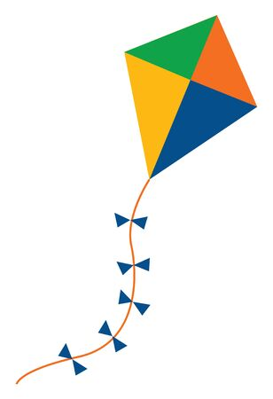 A colourful kite with long thread and bows , vector, color drawing or illustration. Иллюстрация