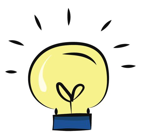 A yellow light bulb with black-colored contact wires, tow eyes, and a blue metal base or electric foot emits yellow light, over a white background, vector, color drawing or illustration.