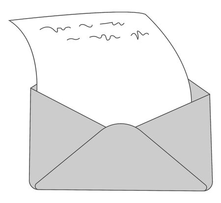 A letter in the envelope in grey colour , vector, color drawing or illustration.