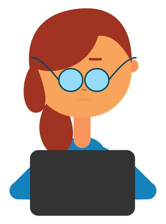 A girl working with laptop wearing blue glases , vector, color drawing or illustration. Ilustrace