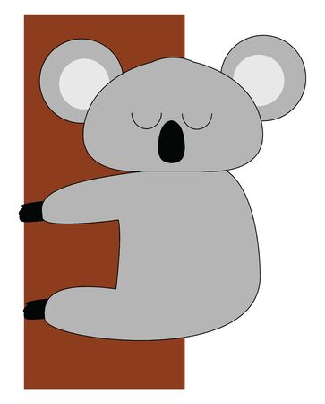 A face of a cute small koala with big nose , vector, color drawing or illustration.