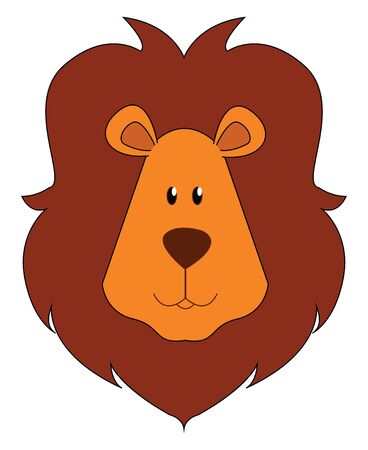A face of a brown lion with a short, rounded head, oval-shaped ears, and dark-brown mane covering the head and with eyes rolled up looks mighty, vector, color drawing or illustration.