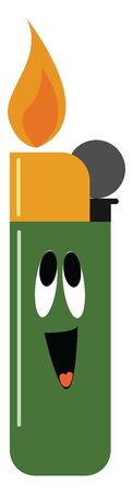 Emoji of a green lighter glowing with a small flame used to light cigarettes has a cute face with eyes rolled up and tongue stuck out while laughing, vector, color drawing or illustration.
