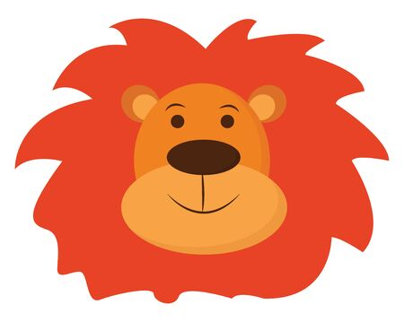 A face of a brown lion with a short, rounded head and ears, orange mane covering the head, oval-shaped black nose, is smiling , vector, color drawing or illustration. Illustration