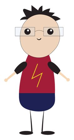 A foolish boy, in a flash of lightning, printed red shirt and blue trousers wear a pair of rectangular glasses smiles with his hands wide open while standing, vector, color drawing or illustration.